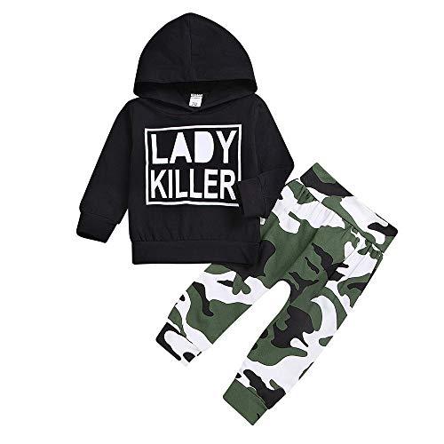 Oldeagle Kids Baby Boys Long Sleeve Lady Killer Letter Hoodie Sweatshirts+Camouflage Print Pants 2PCs Sweatshirt Outfits Set (3-6M, Black) by Oldeagle (Image #1)