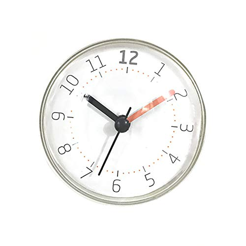 essibly11jmp Bathroom Waterproof Classical Suction Cup Silent Non-Ticking Battery Operated Wall Clock White
