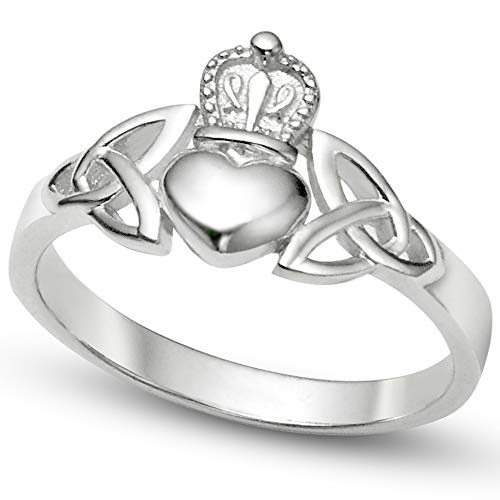 Sz 6 Sterling Silver Irish Claddagh Friendship and Love Band Celtic Ring w/ Trinity Symbols