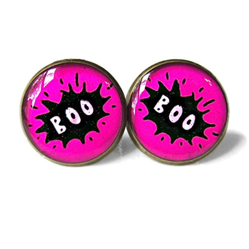 Hot Pink Word Bubble Boo Halloween Stud (Tumblr Halloween Costumes Hot)