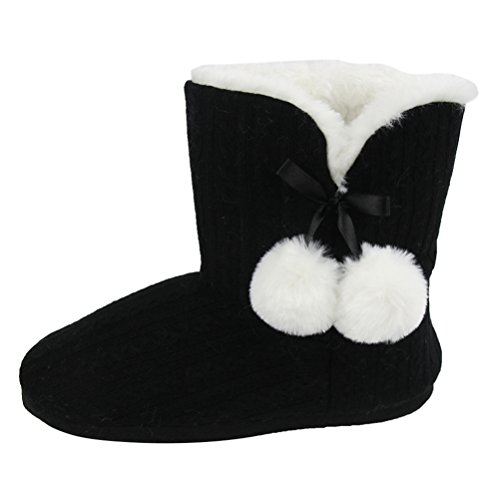 Gohom Womens Faux Fur Black Fringes Indoor Slipper Boots Black With White Ball u0mGWaa