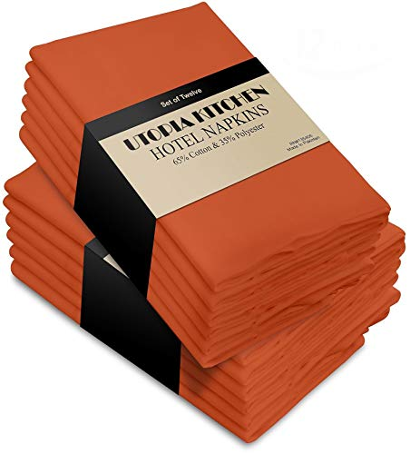 Utopia Kitchen Cloth Napkins, 12 Pack (18 x 18 Inches), Orange Cotton Dinner Napkin ()