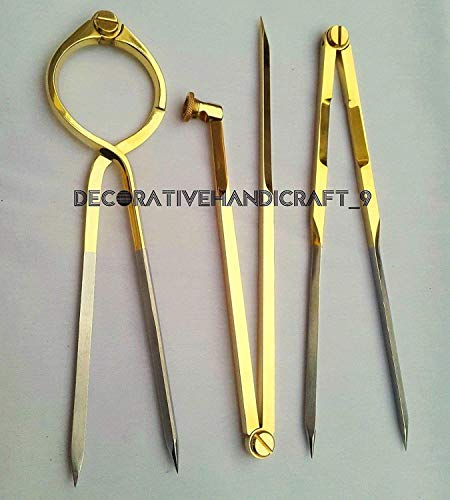 (Set of 3 Brass Pcs ~ Pencil Compass, Straight & Round Divider a)