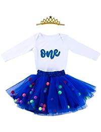 9ca959c573bd Baby Girls 1st Birthday Outfit Glitter One Romper Balls Skirt Crown Headband