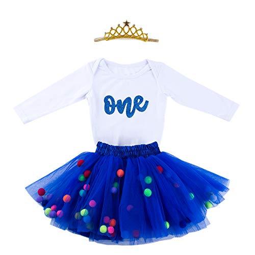 Baby Girls 1st Birthday Outfit Glitter One Romper Balls Skirt Crown Headband (Blue01, 9-12Months)