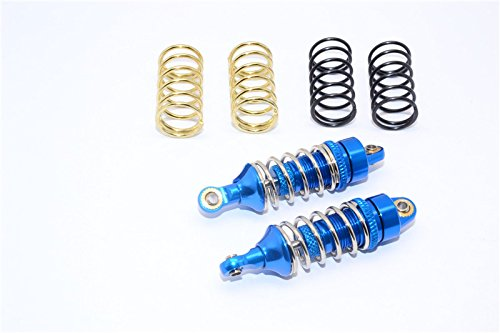 Traxxas 1/16 Mini E-Revo, Mini Slash, Mini Summit Upgrade Parts Aluminum Front/Rear Adjustable Spring Damper (1.2mm,1.3mm & 1.4mm Coil Springs) With Aluminum Ball Ends - 1Pr Set Blue