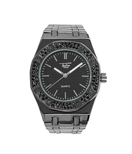 Bling-ed Out Men's 40mm Dial CZ Black Watch with Tapered Band | Japan Movement | Simulated Lab Diamonds