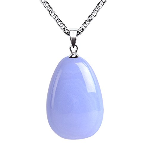 - iSTONE Natural Gemstone Water Drop Blue Lace Agate Pendant Necklace with Stainless Steel Chain 20 Inch