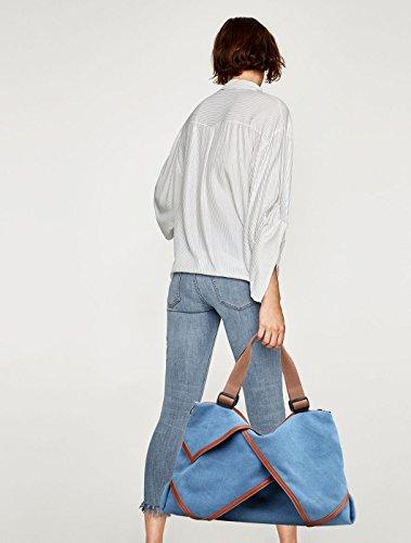NICOLE&DORIS Lona Mujer Bolsos del totalizador Bolsa de hombro Bolso de Crossbody Cartera Bolsa de compras grande Gran capacidad Púrpura Ligera Azul
