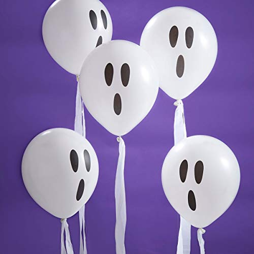 Halloween Decorations Halloween Party Ghost Balloons with White Streamers for Strings Pk -
