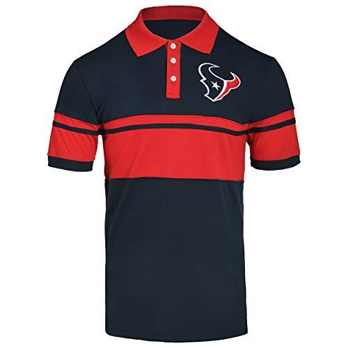 FOCO NFL Houston Texans Football Team Logo Cotton Stripe Polo Shirt, Team Color, X-Large