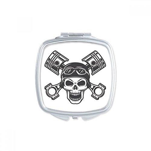 Skeleton Motorcycle Lights Goggles Pattern Square Compact Makeup Mirror Portable Cute Hand Pocket Mirrors Gift