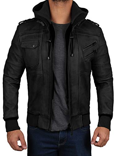 Edinburgh Mens Black Hooded Leather Jacket - Detachable Hoodie Lambskin Bomber Leather Jacket | M