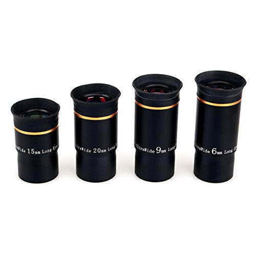 SVBONY Telescope Eyepiece Fully Mutil Coated 1.25 inches Telescope Lens 66 Degree Ultra Wide Angle HD (6mm 9mm 15mm 20mm)