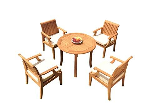 TeakStation 4 Seater Grade-A Teak Wood 5 Pc Dining Set: 36