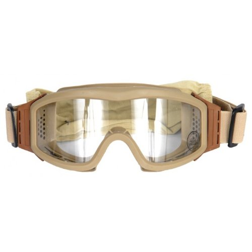 Lancer Tactical CA-201T Clear Lens Safety Airsoft Goggles (Desert Tan), Maxiumum -
