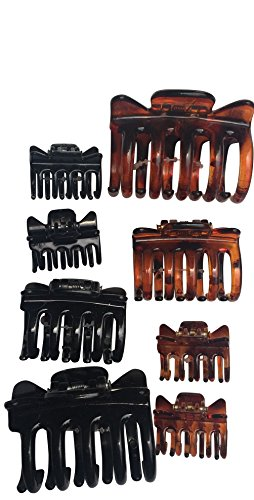 Hair Claw Jaw Clips No Ouch Assorted Sizes Colors, 24 Count, 3 Pack of 8, Medium, Mini, Soft, Aprox Mixed sizes 2, 1.5, 1 Inches For Women And Girls