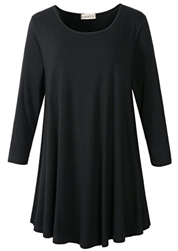 LARACE Women 3/4 Sleeve Tunic Top Loose Fit Flare T-Shirt(1X, Black)