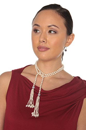 HinsonGayle AAA 7-7.5mm Freshwater Cultured Pearl Tassel Lariat Sautoir Necklace-44 in length by HinsonGayle Fine Pearl Jewelry (Image #3)