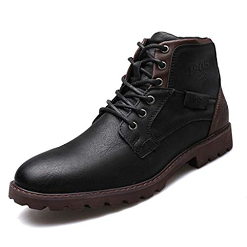 Men's Lace Style Fashion Martin Boots Retro Print Men's Boots Side Zipper Section Microfiber Leather Tooling Boots Men's Shoes Autumn and Winter High Shoes Desert Boots (Color : Black, Size : 42)