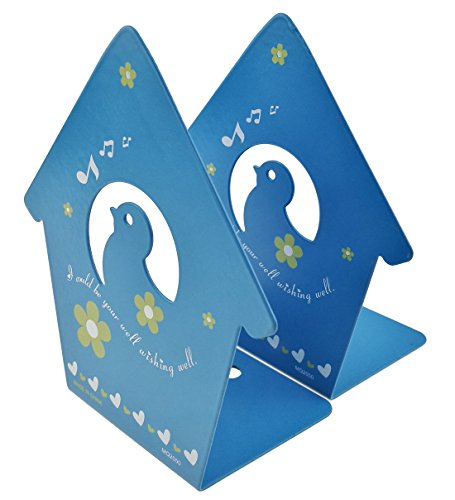 A Pair Of Cute Baby Birds Singing Theme With Flowers Heart-shaped Pattern Solid Metal Book Stand Bookends Art For Kids Childrens Bedroom Library School Desk Study Gift (Blue)