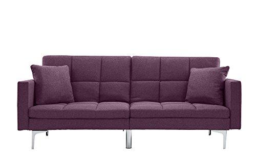 Modern Plush Tufted Linen Split back Living Room Futon, Sofa for Small Space (Purple)