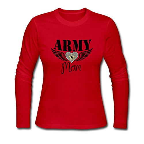 Spreadshirt Army Mom Winged Heart Women's Long Sleeve Jersey T-Shirt, M, red (Heart Winged T-shirt)