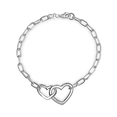 Mothers Day Gifts Sisters Engraved Interlocking Hearts Link Bracelet Sterling Silver 7.5in