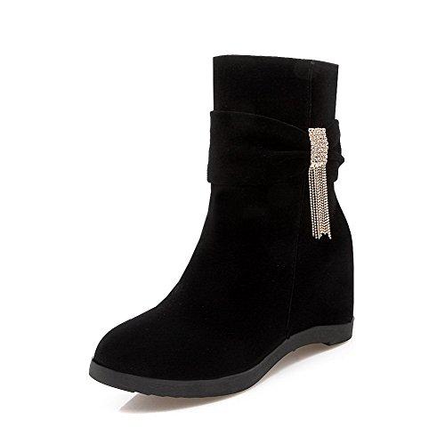 AllhqFashion Damen Hoher Absatz Niedrig-Spitze Eingelegt Reißverschluss Stiefel, Weiß, 36