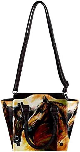 Nananma Sac à main en cuir avec poignée supérieure - Pour femme - Motif chevaux - Peinture à l'huile