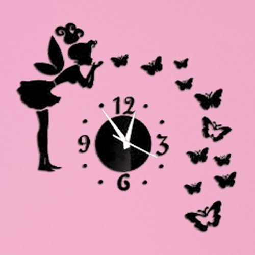 Apexshell(TM) DIY Decorative Creative Angel Fairy and Butterfly Wall Clock Crystal Mirror Wall Silent Clock Fashion Modern Design Removable DIY Acrylic Mirror Wall Decal Wall Sticker Decoration for Home Living Room Kitchen Bedroom Baby or Child Room