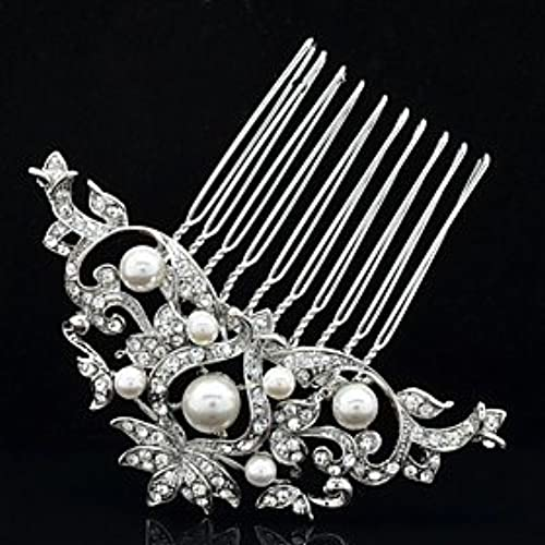 FLOW ZIG 8.3cm Alloy and Rhinestone and Imitation Pearl Hair Comb for Women's Party Wedding Bridal