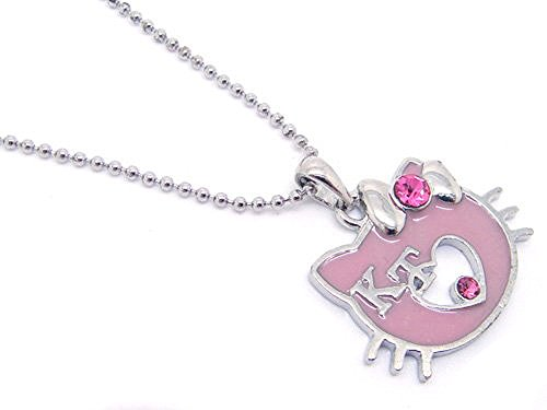 Adorable Silver Toned Pinkish Purple 'KT' Kitty Charm Necklace