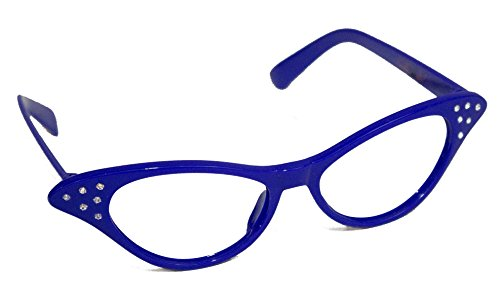 Hip Hop 50s Shop Womens Cat Eye Rhinestone Glasses, Royal Blue