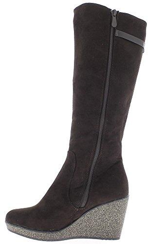 Stiefel braun Frauen in Pailletten Fersen kompensieren 8 cm