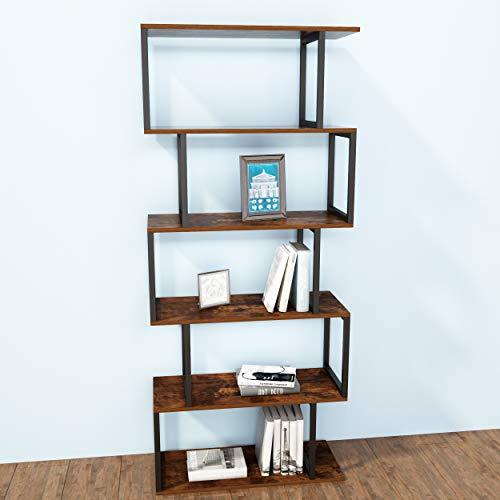 JOISCOPE Bookshelf Rack, 5-Tier Industrial Easy-Assembly Metal Frame Bookcase Storage Shelf for Living Room, Narrow, Bedroom, Office(Vintage Oak Finish)