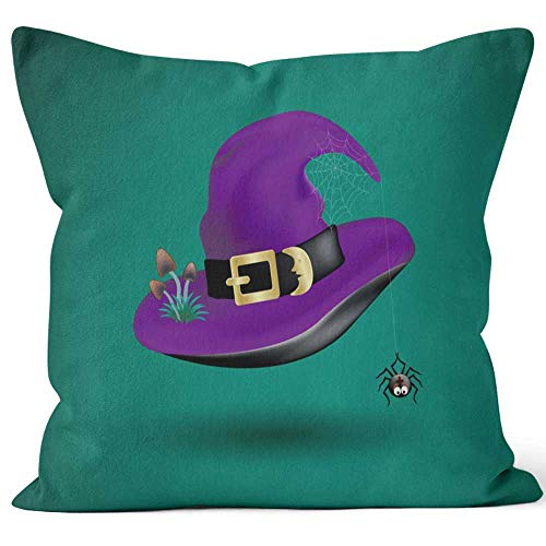 Nine City Purple Witch hat with Scary Decor of Black Funny Spider on Cobweb and Poisonous Mushrooms on Dark Green Halloween costu Home Decorative Throw Pillow Cover,HD Printing Square Pillow case]()