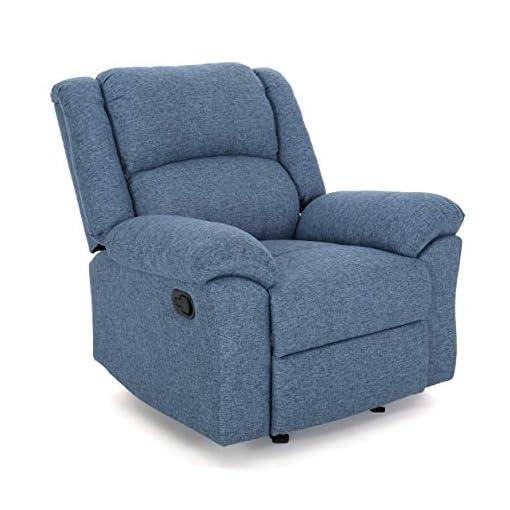 Living Room Christopher Knight Home Nora Glider Recliner, Navy Blue Tweed + Black