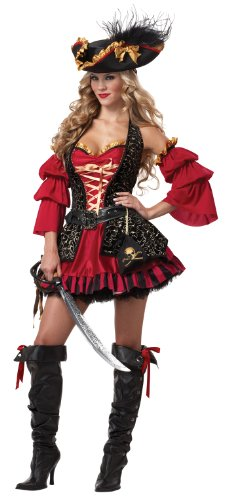 California Costumes Women's Eye Candy - Spanish Pirate Adult, Black/Red, Medium
