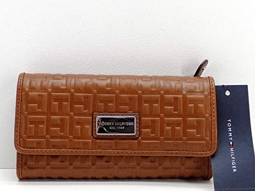 Tommy Hilfiger Wallet Clutch Brown Logo Embossed
