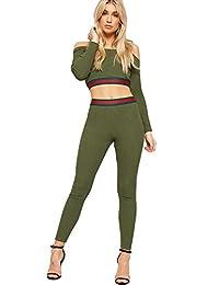 WearAll Womens Striped Off Shoulder Long Sleeve Rib Crop Top Leggings Co-Ord Set