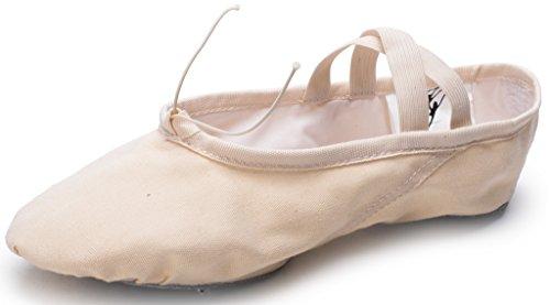 Cpdance Tm Canvas Split Sole Practice Ballet Dansschoenen Slipper Yoga Schoenen Voor Kinderen En Volwassenen Beige