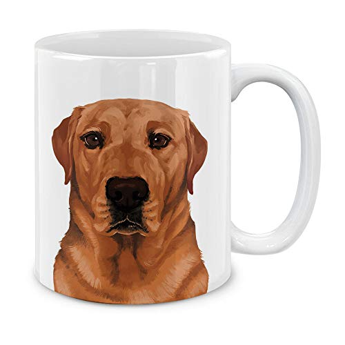 MUGBREW Cute Red Fox Labrador Retriever Dog Full Portrait Ceramic Coffee Gift Mug Tea Cup, 11 OZ
