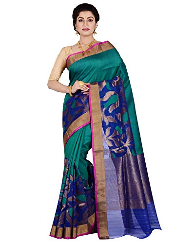 Pure Dupion Silk - AllSilks Pure Dupion Silk Teal Green and Blue Woven Saree for Women