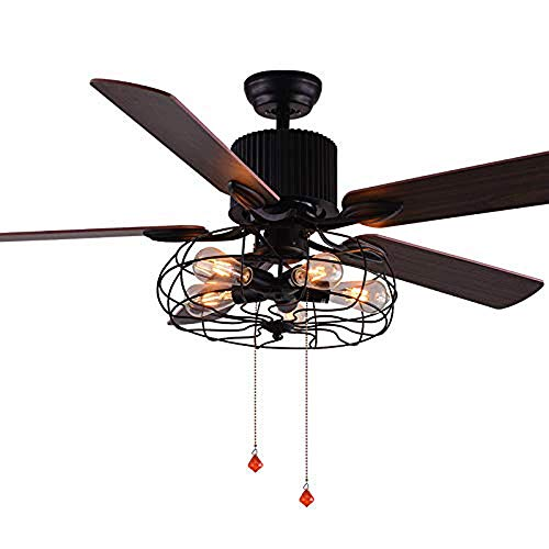52-Inch Industrial Vintage Ceiling Fan Light Semi-Embedded Ceiling Fan with 5 Wooden Blades Wrought Iron Retro Fan Chandelier with 5 Lights for Living room Bedroom