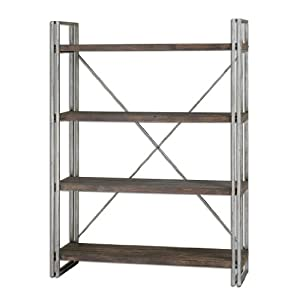 Designer Metal and Wood Industrial Etagere