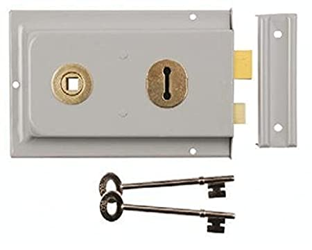 2 Keys Rim Dead Lock Double Handed Grey 100 x 75mm Door Deadlock Gates Sheds