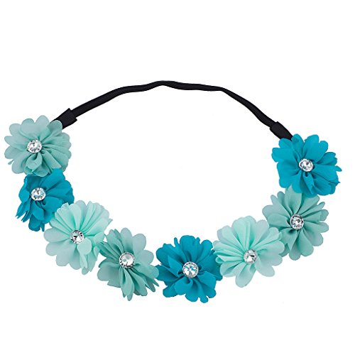 Lux Accessories Turquoise Floral Flower Crystal Coachella Stretch Headband
