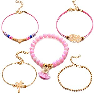 Unew Beaded Bracelets for Women - Adjustable Charm Pendent Stack Bracelets for Women Girl Friendship Gift Rose Quartz Bracelet Links with Pearl Golds Plated 5pcs/Set (Pineapple & Coconut Tree)