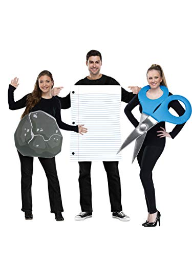 Family Of 3 Halloween Costumes Ideas (Fun World Men's Rock Paper Scissors Costume, Multi,)